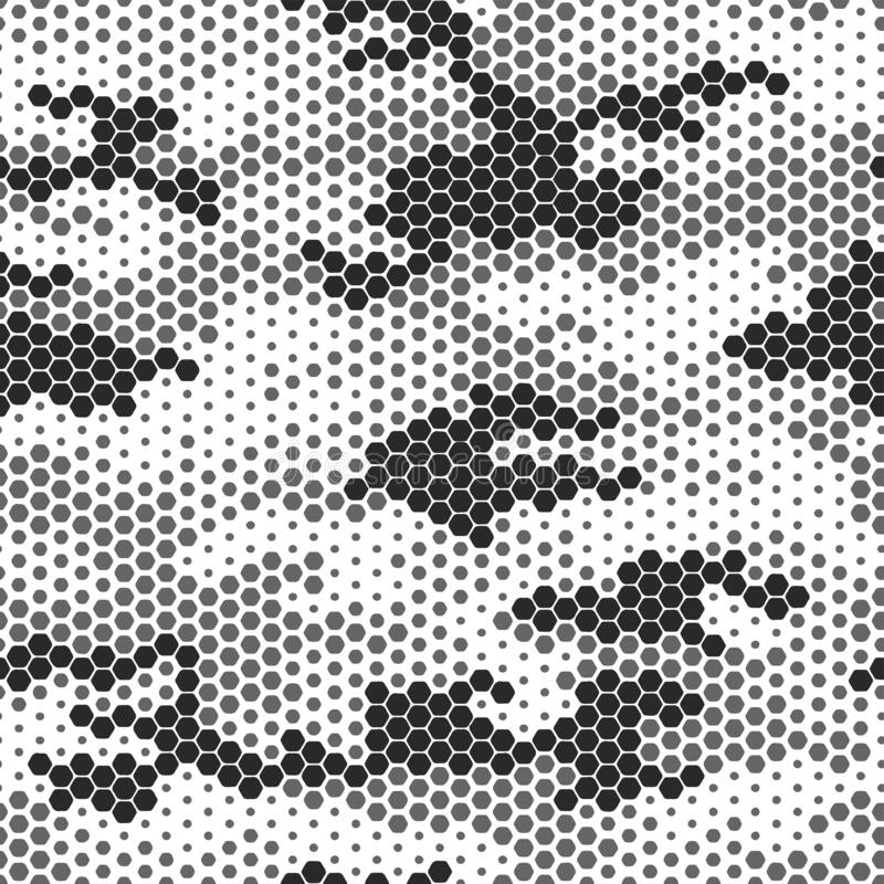 Free Seamless Military Camouflage Skin Halftone Dotted Pattern Vector For Decor And Textile. Black White Pointed Army Royalty Free Stock Photography - 210329577