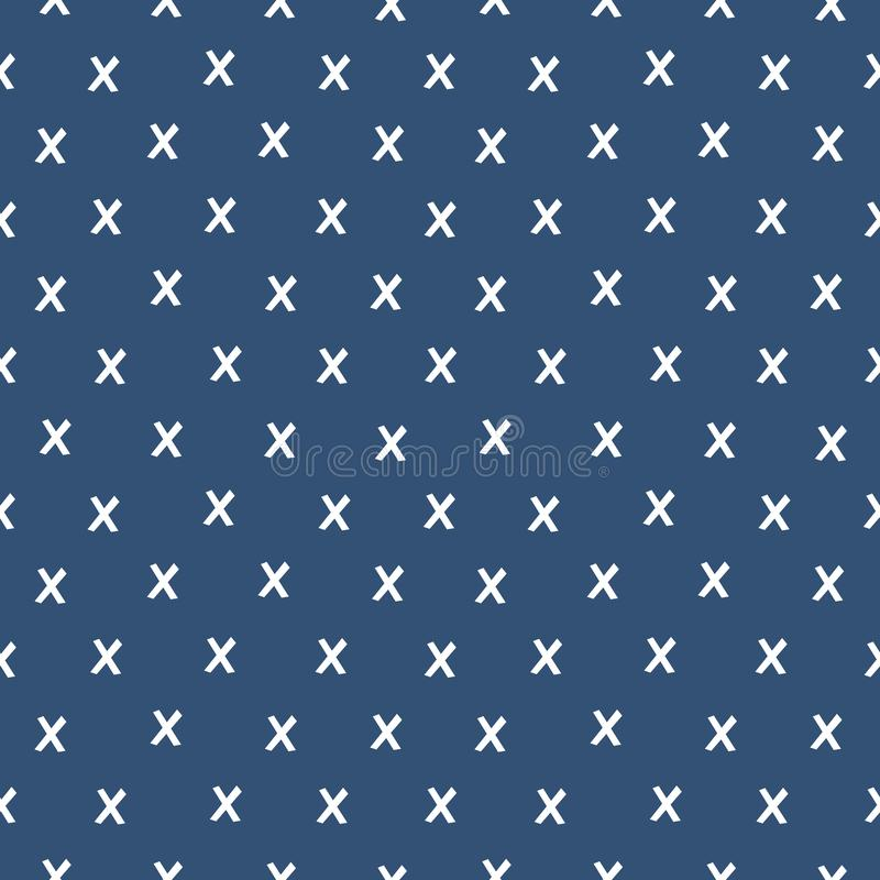 Seamless geometric background x pattern on navy blue vector illustration