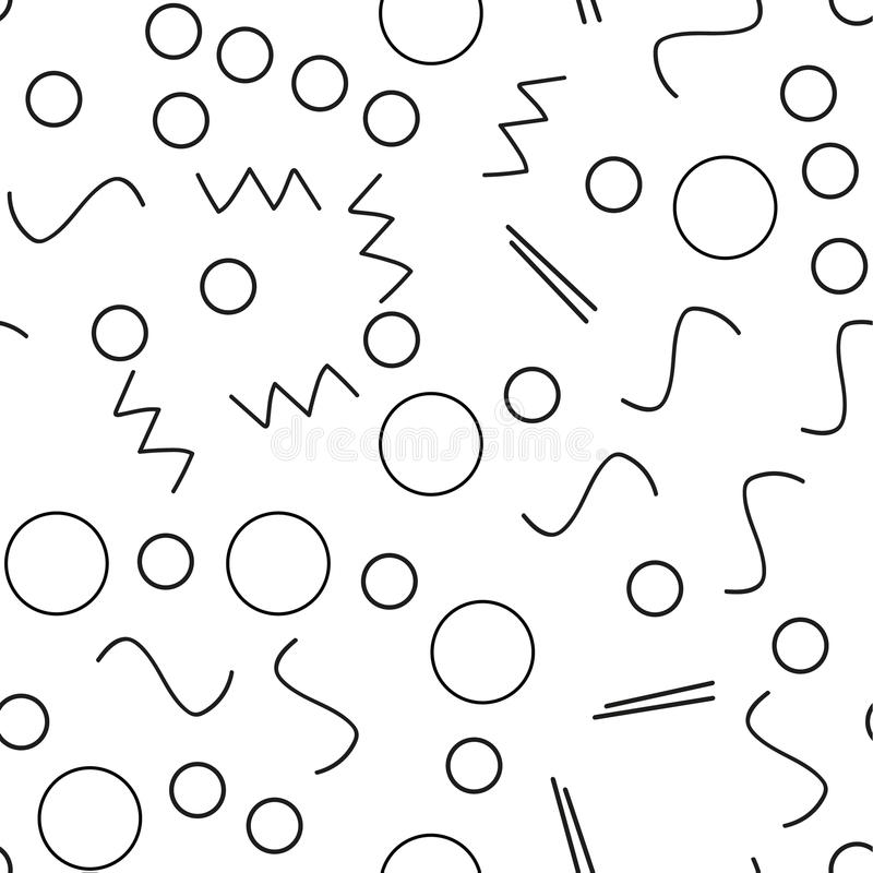 Seamless minimalist pattern. Geometric background with shapes, lines. Black and white color. Retro style 80s-90s. royalty free illustration