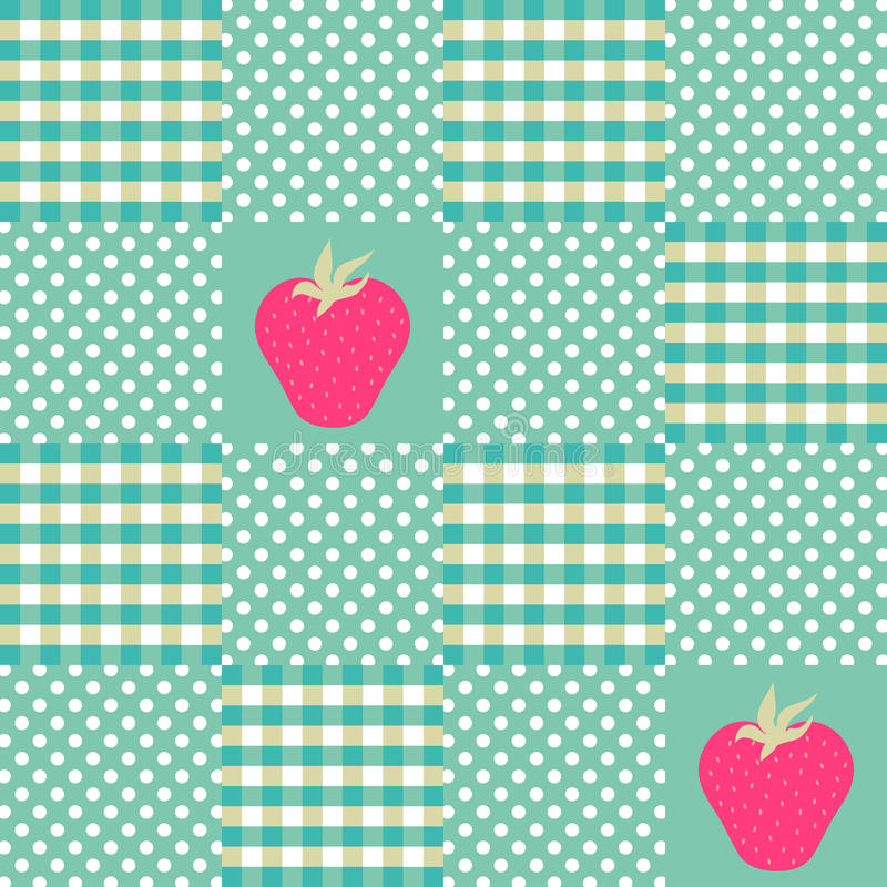 Seamless mint and white pattern with strawberries royalty free stock photo