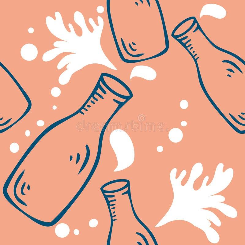 Seamless mjölka bakgrundsmodellen royaltyfri illustrationer