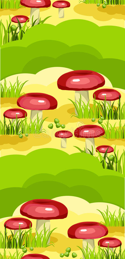 Seamless Model Of Mushroom Glade Royalty Free Stock Photography