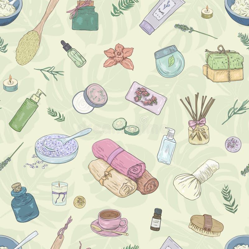 seamless modell Arbetsanmärkningar, bakgrund som studerar, idérik livsstil Hand dragen omsorg för kropp för illustrationkvinna` s stock illustrationer