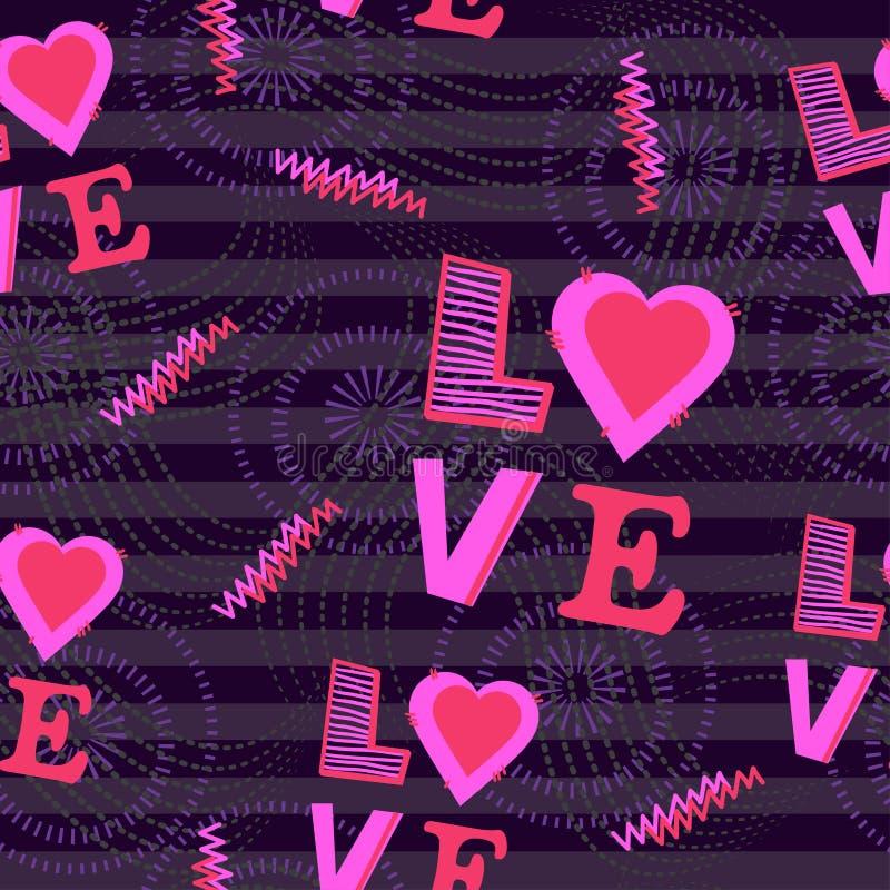seamless modell bakgrund med hjärta- och ordförälskelse stock illustrationer
