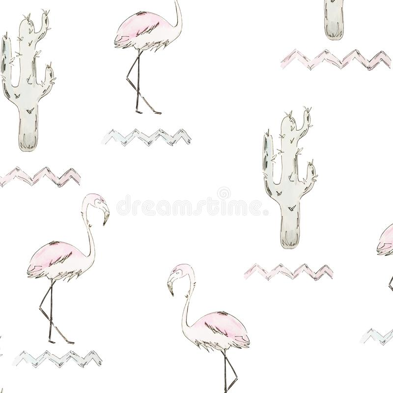 seamless modell Blå vattenfärgkaktus och rosa flamingo med den svarta översikten på vit bakgrund stock illustrationer