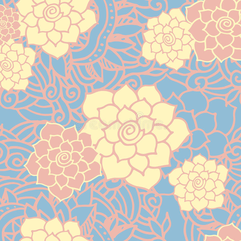 seamless modell Blom- stilfull bakgrund stock illustrationer