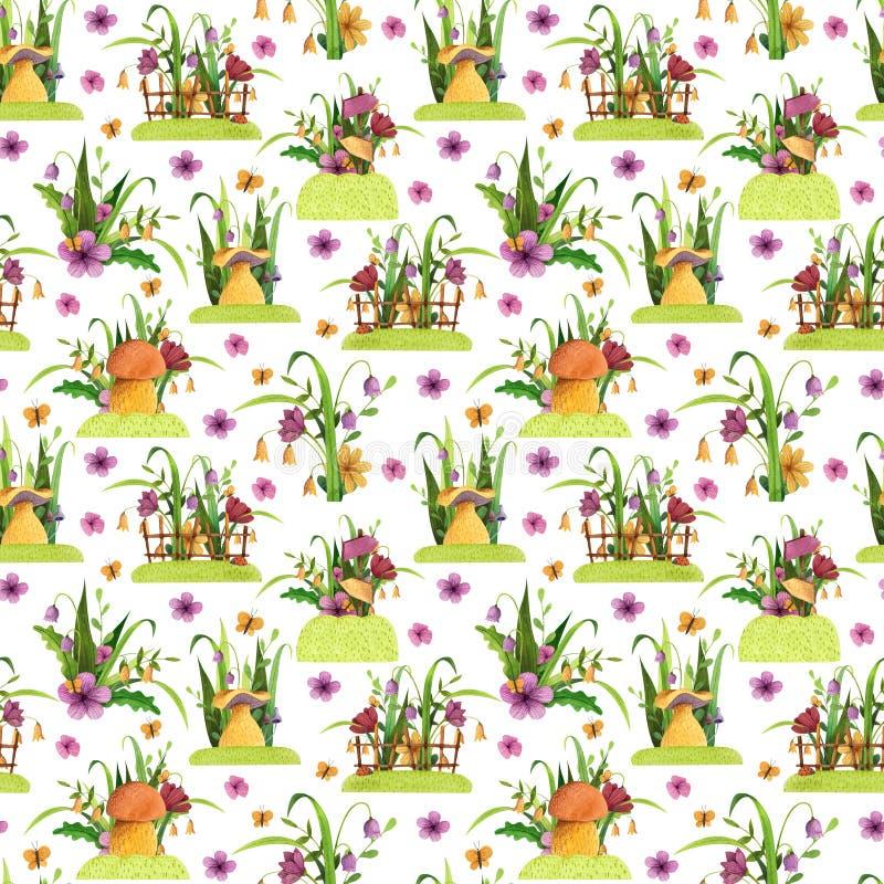 seamless modell Champinjoner med blommor, gräs, sidor, staket, fjäril royaltyfri illustrationer