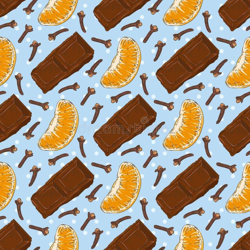 seamless modell Choklad, kryddnejlika och tangerin vektor illustrationer