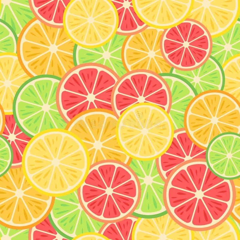 seamless modell Citrusfrukter: citron apelsin, limefrukt, grapefrukt royaltyfri illustrationer