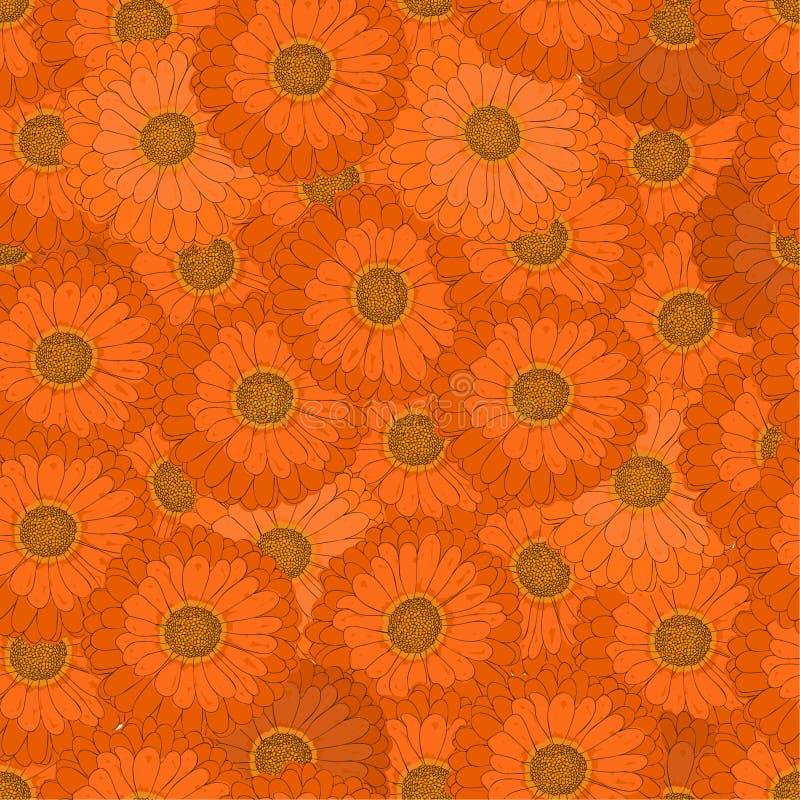 seamless modell Den orange blomman Gerbera vektor illustrationer