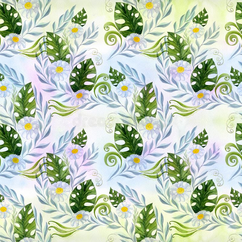 seamless modell En bukett av tusenskönablommor - blommor, sidor på vattenfärgbakgrund stock illustrationer