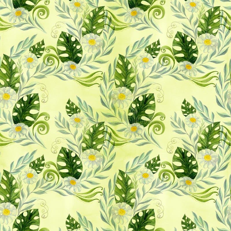 seamless modell En bukett av tusenskönablommor - blommor, sidor på vattenfärgbakgrund vektor illustrationer