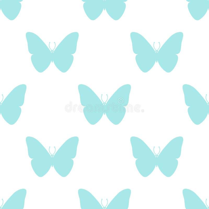 seamless modell Färgglad fjäril på vit bakgrund vektor illustrationer