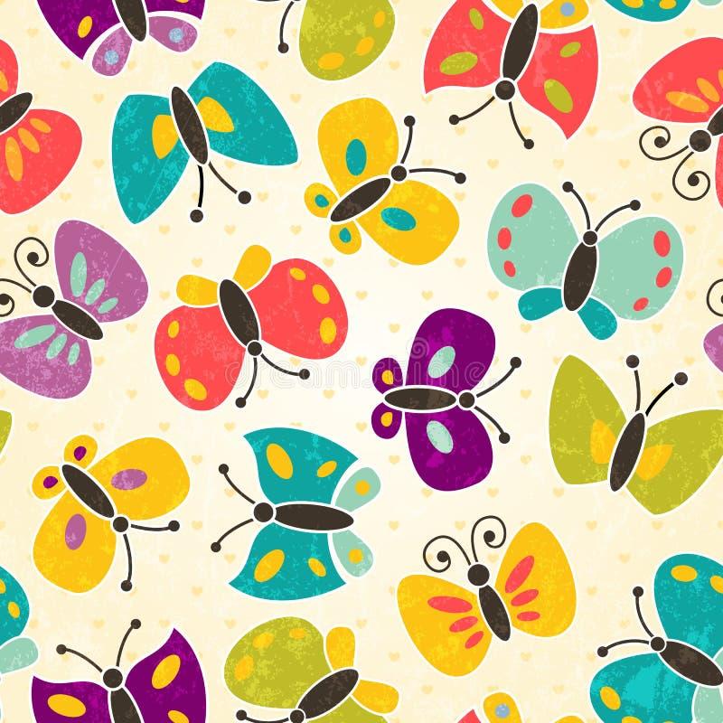 Seamless modell för fjäril stock illustrationer