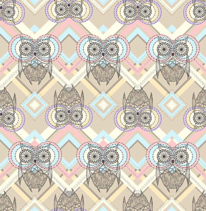 Seamless modell för gullig owl vektor illustrationer