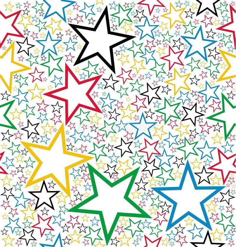 Seamless modell för mångfärgade stjärnor stock illustrationer
