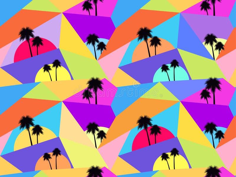 Seamless modell för palmträd Avantgardestil Kaotiska partiklar vektor royaltyfri illustrationer