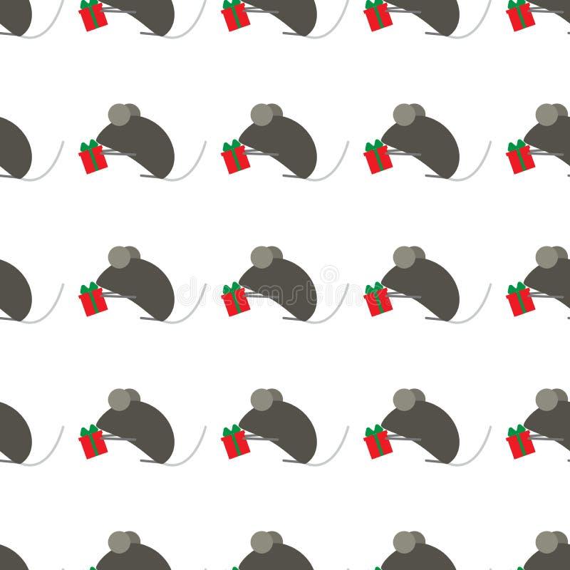 Seamless modell f?r nytt ?r Det kinesiska symbolet av nytt år s tjaller eller musen Gulliga möss ger gåvor passande f?r bakgrund stock illustrationer