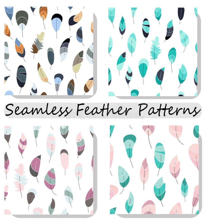 Seamless modell f?r vektor med fj?drar Samling fastställda tryck, textur, tapeter, bakgrunder stock illustrationer