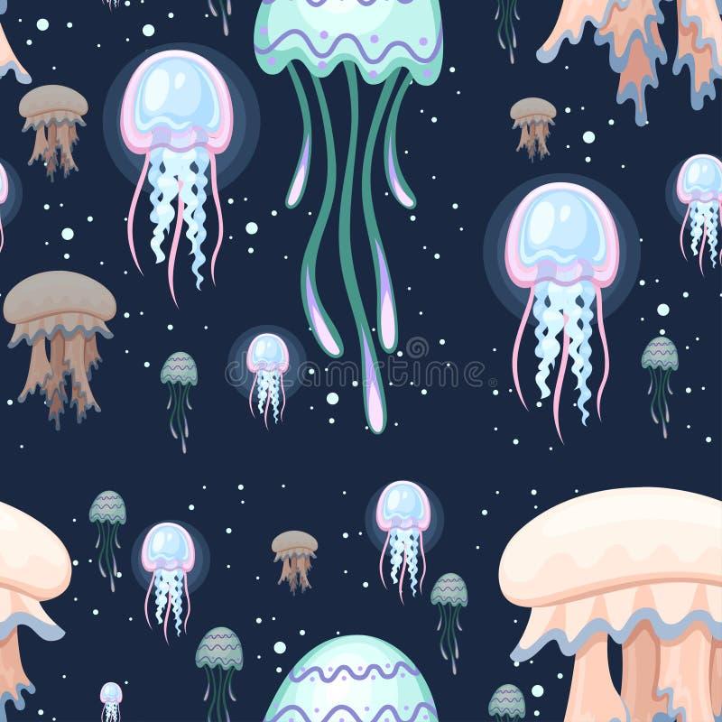 seamless modell f?rgrik manet Tropiskt undervattens- djur Vatten- organism f?r Medusa, tecknad filmstildesign plant royaltyfri illustrationer