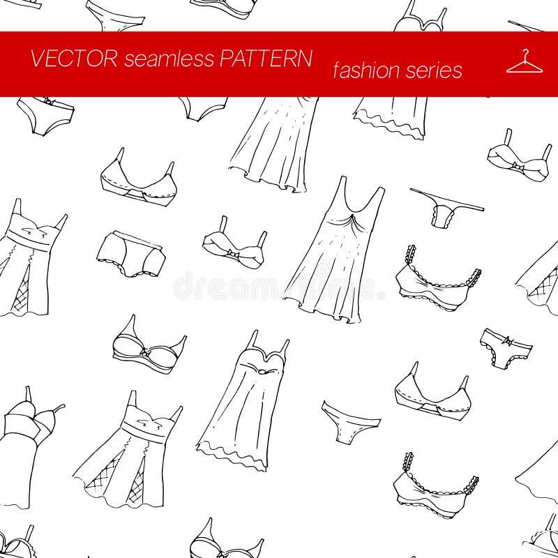 seamless modell Fashion seten illustration i handteckningsstil royaltyfri illustrationer