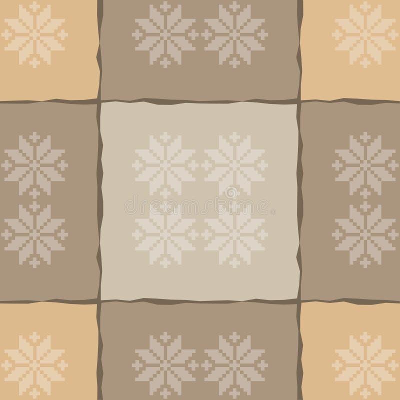 seamless modell Festligt brunt Kraft inpackningspapper Textur Kraft vektor illustrationer