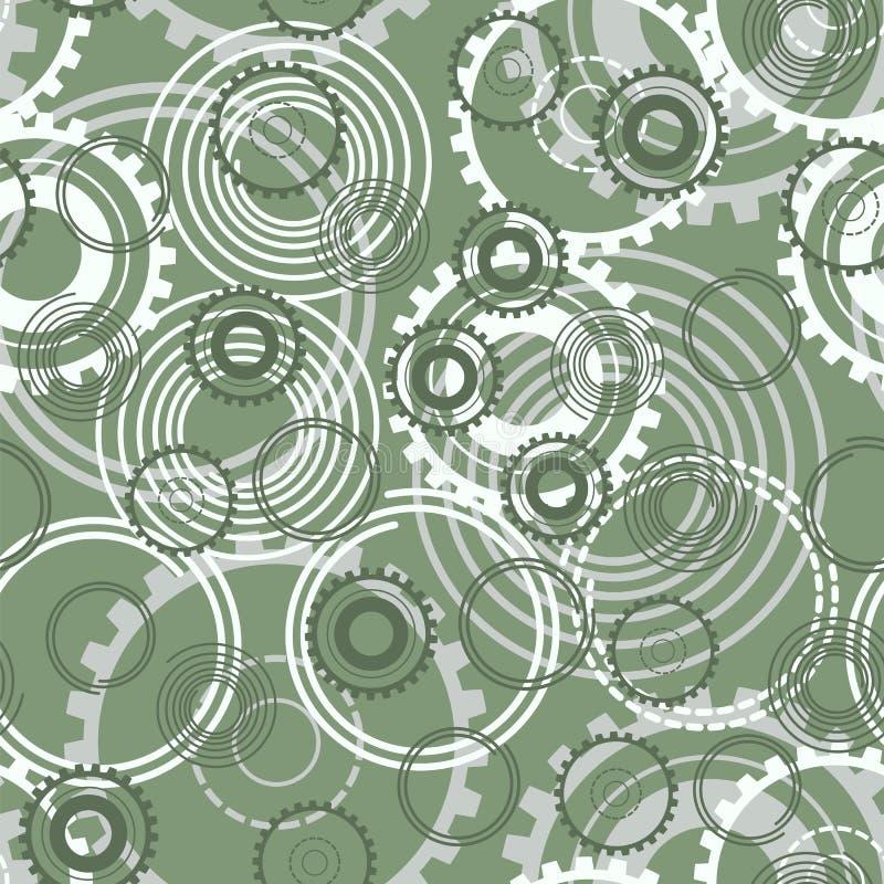 seamless modell Fjädrar bakgrund för vektorn för kugghjulhjul stock illustrationer