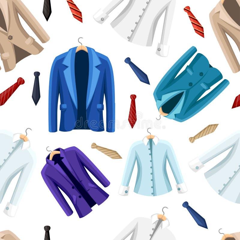 seamless modell Formella kulöra dräkter för män Färgrikt omslag och skjorta Plan illustration på vit bakgrund stock illustrationer