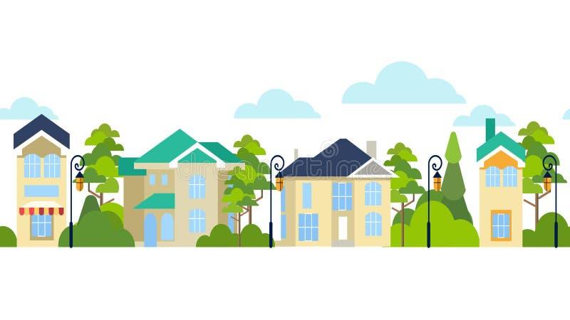 seamless modell Gata av hus och träd Oändlig stad I minimalist stil Plant isometriskt royaltyfri illustrationer