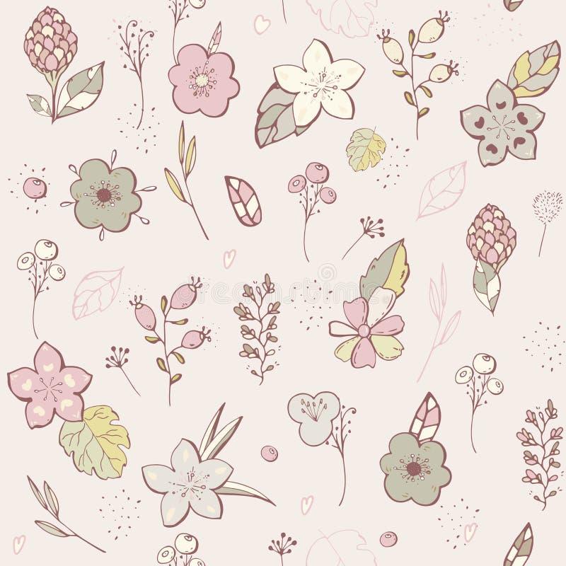 seamless modell grafisk design för pastellfärgad blomma Vektoruppsättningen av blom- beståndsdelar med den drog handen blommar Sa vektor illustrationer
