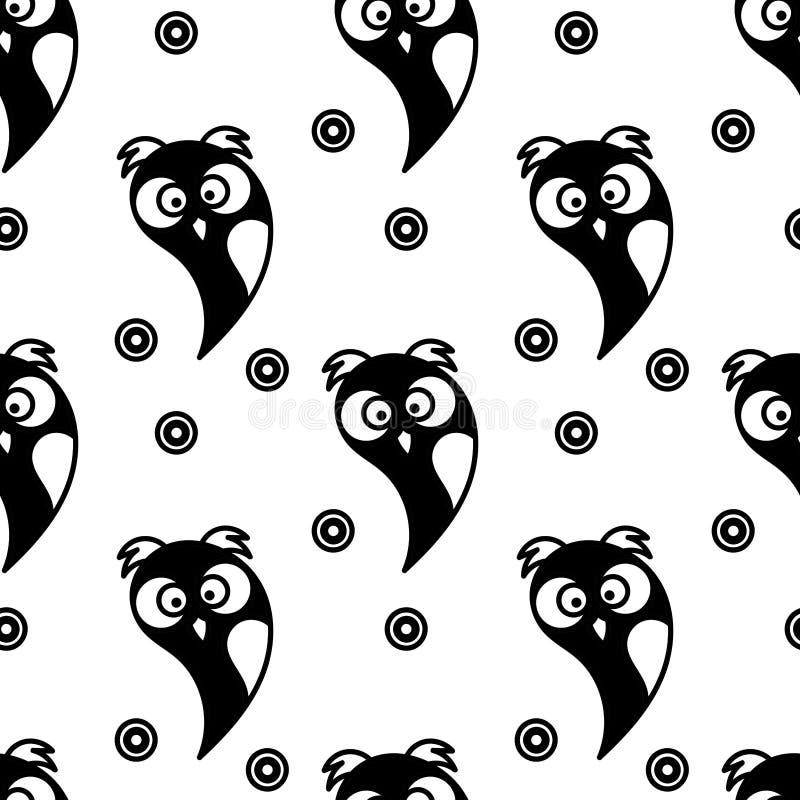 seamless modell Gulliga owls svart white vektor vektor illustrationer