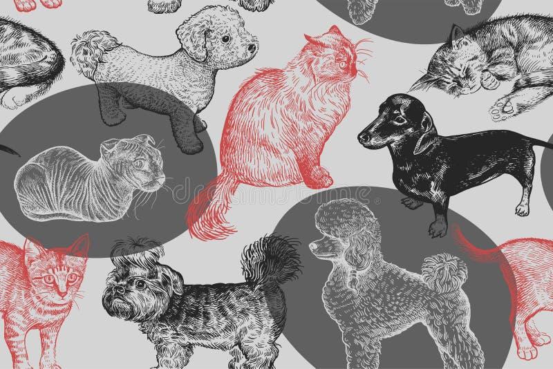 seamless modell Gulliga valpar och kattungar Hand-gjord teckning av stock illustrationer