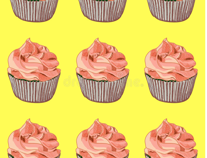 seamless modell Hand drog muffin på gul bakgrund kräm- red vektor stock illustrationer