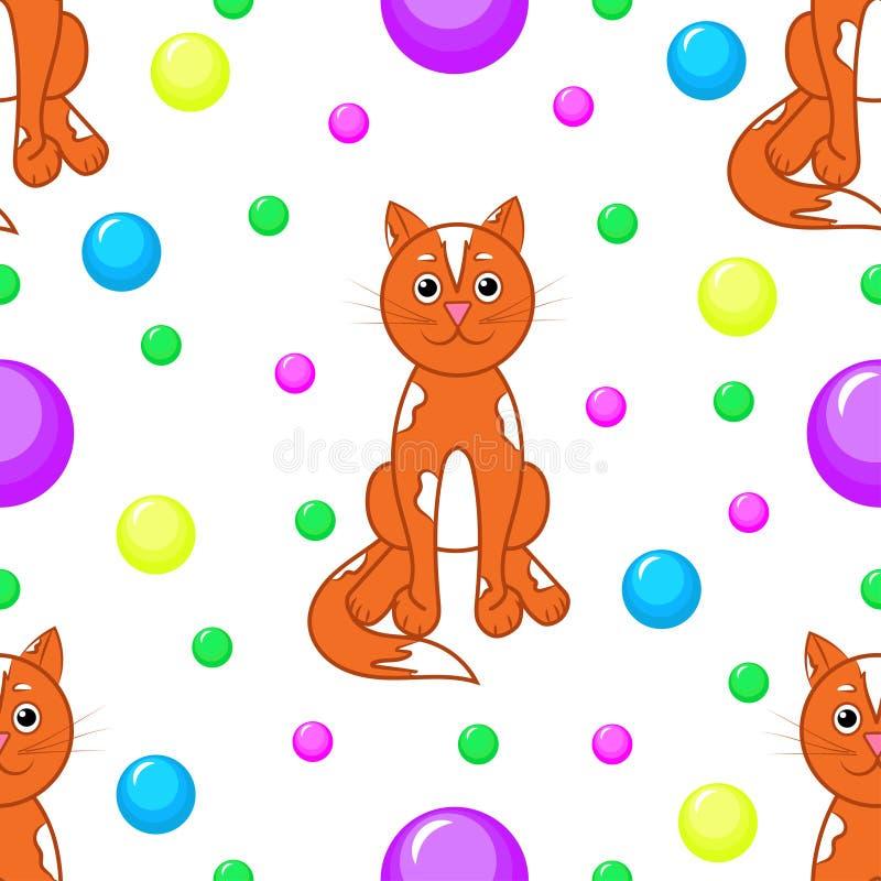 seamless modell Katter och mång--färgade bollar vektor illustrationer