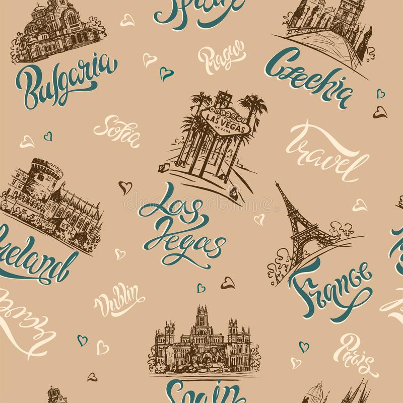 seamless modell Länder och städer bokstäver skissar landmarks Resor Bulgarien Tjeckien, Las Vegas, Irland, franc stock illustrationer