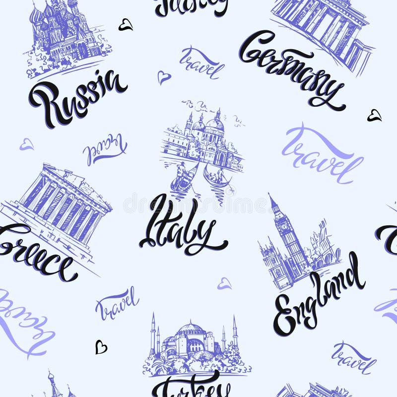 seamless modell Länder och städer bokstäver skissar landmarks Resor Ryssland Grekland Turkiet Italien Tyskland vektor vektor illustrationer