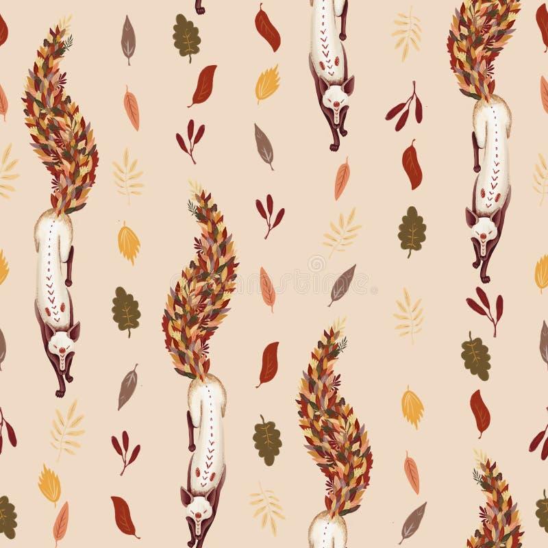 seamless modell Lura med svansen av stupade höstsidor 2008 leaves för leaf för dunge för torr fall för lufthöst guld- nära oaken  vektor illustrationer