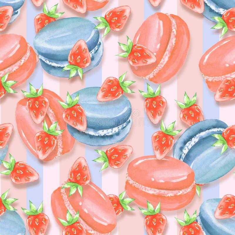 seamless modell Macaroons och jordgubbe vektor illustrationer