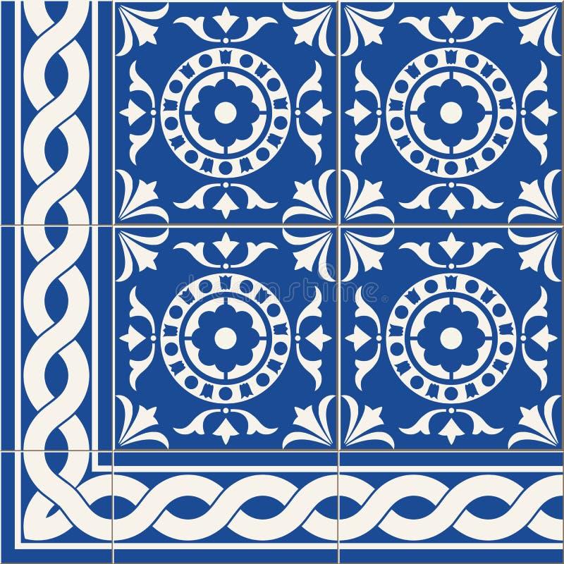 seamless modell Marockanska, portugisAzulejo tegelplattor för turk, och gräns, prydnader vektor illustrationer