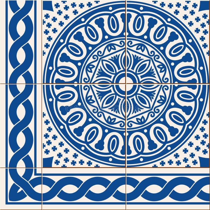 seamless modell Marockanska, portugisAzulejo tegelplattor för turk, och gräns, prydnader royaltyfri illustrationer