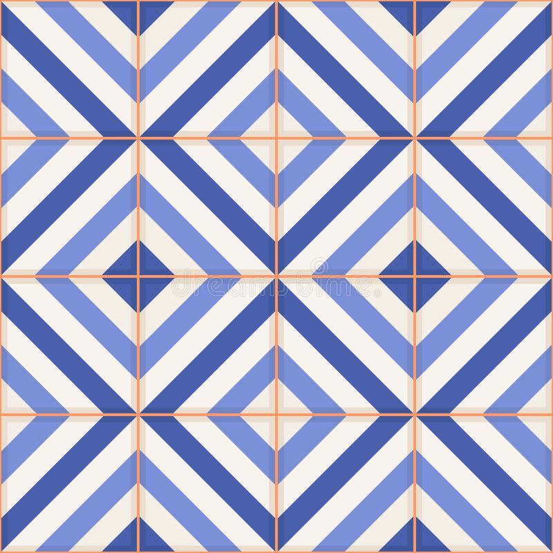 seamless modell Marockanska tegelplattor, prydnader av blåa band royaltyfri illustrationer