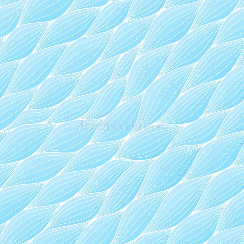 Seamless modell med abstrakt waves Krabb blå azur bakgrund Vektorvågtextur vektor illustrationer