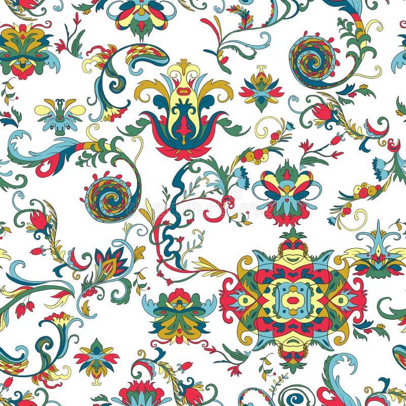 Seamless modell med blom- element Traditionell arabisk prydnad Designmall för hälsningkortet, baner, affisch, tryck, vägg royaltyfri illustrationer