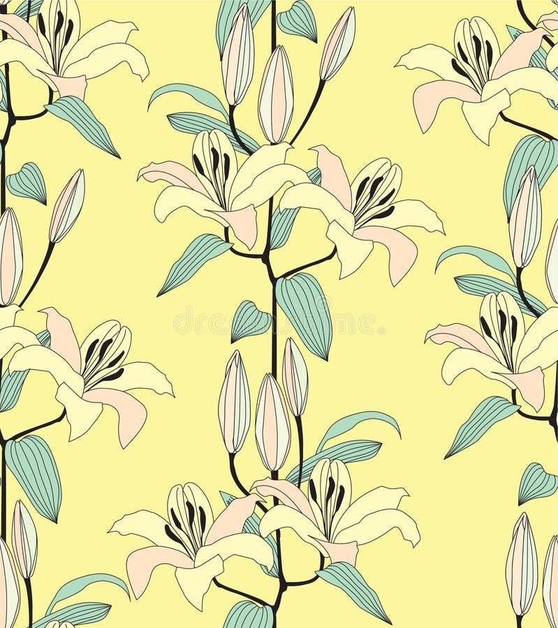 Seamless modell med den gula blomman royaltyfri bild