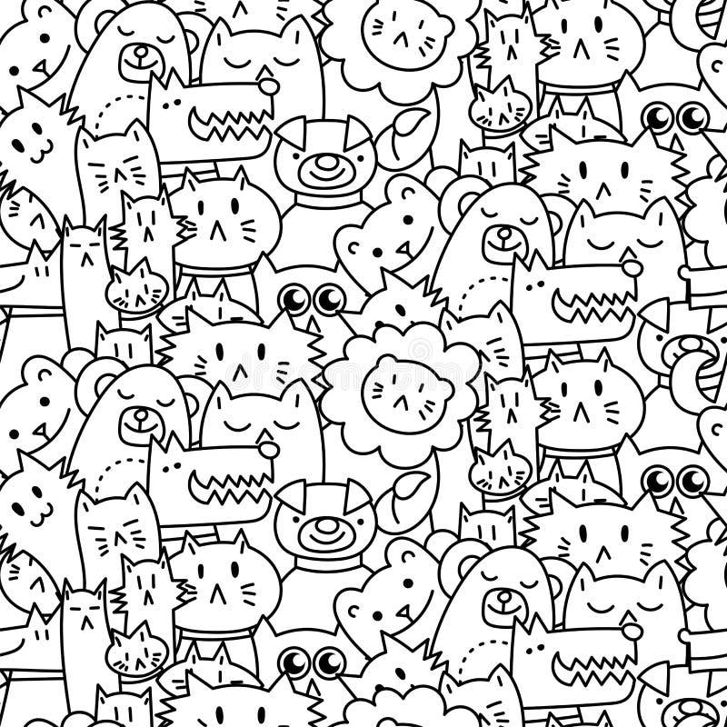 Seamless modell med gulliga djur Hundkappl stock illustrationer