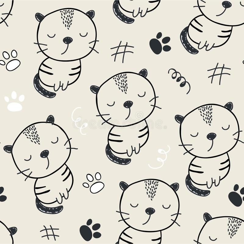 Seamless modell med gulliga katter vektorillustration för textilen, tyg stock illustrationer