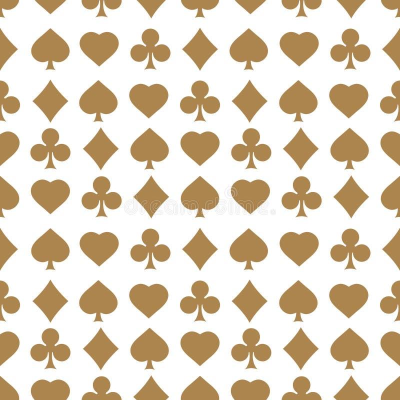 Seamless modell med kortdräkter Ändlös bakgrund av hjärtor, diamanter, klubbor, spadar för design royaltyfri illustrationer