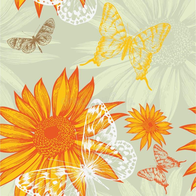 Seamless modell med solrosor och fjärilar, royaltyfri illustrationer