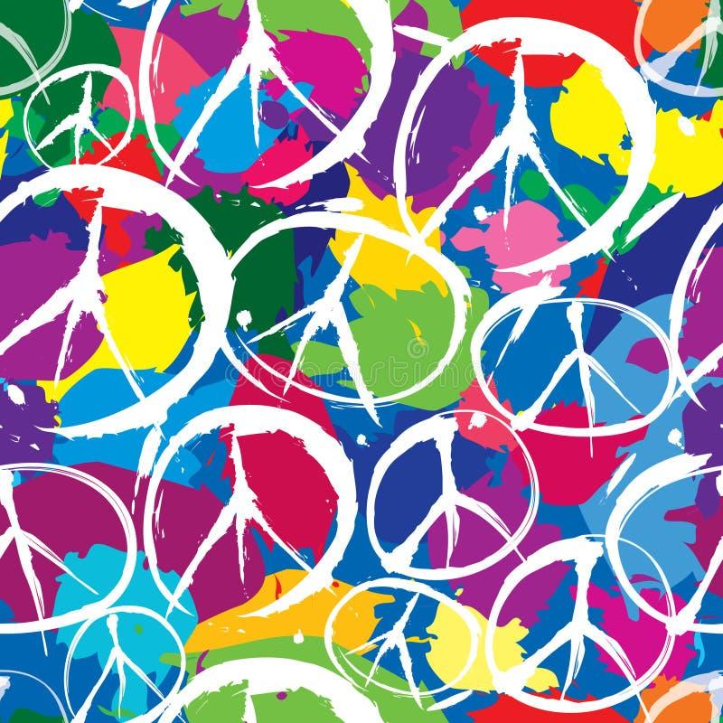 Seamless modell med symboler av fred stock illustrationer
