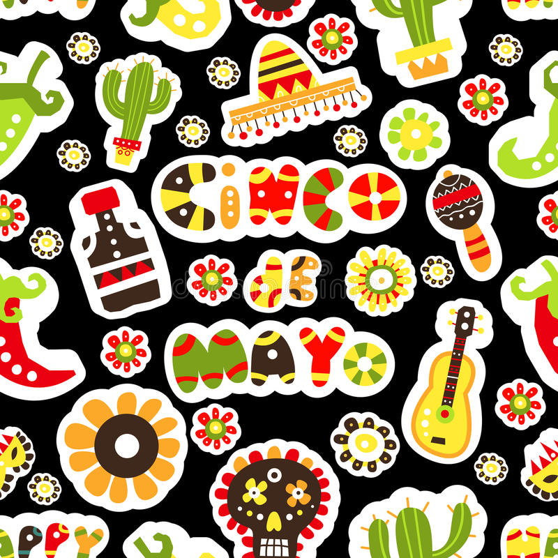 seamless modell Mexicansk ferie Cinco de Mayo Hand dragen packe stock illustrationer